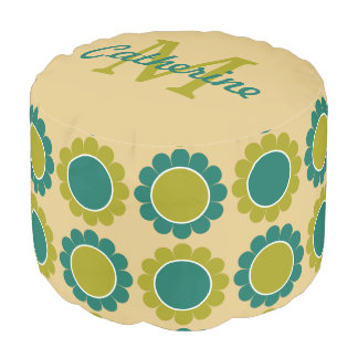 Teal and Olive Granny Flower Daisy Monogram Pouf