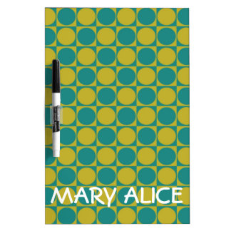Teal and Olive Polka Dot Tiles Personalized Dry Erase Board