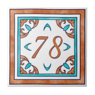 Teal and Orange Big House Number Ceramic Tile