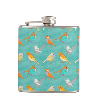 Teal and Orange Colorful Birds Pattern Turquoise Flask