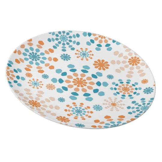 Teal and orange colour bursts abstract mandala plate
