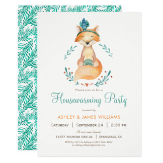 Teal and Orange Fox Housewarming Party Invitation