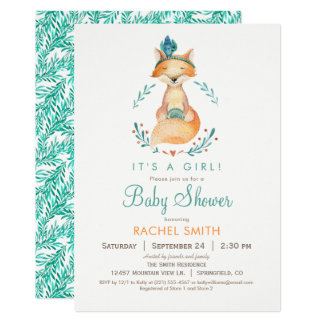 Teal and Orange Girl Fox Baby Shower Invitation