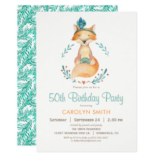 Teal and Orange Girl Fox Birthday Party Invitation