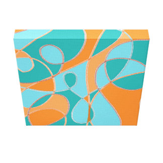 Teal and Orange Line Abstract Canvas Print