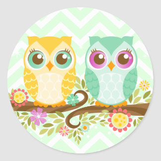 Teal and Orange Owls - Round Stickers