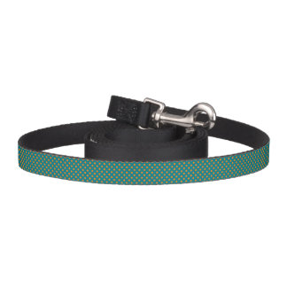 Teal and Orange Polka Dot Dog Leash