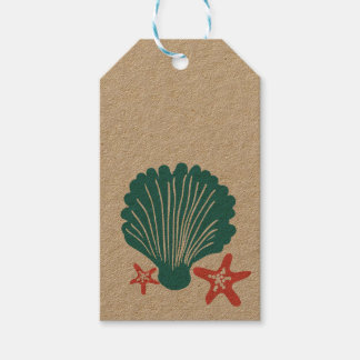 Teal and Orange Sea Shell and Star Fish Gift Tags