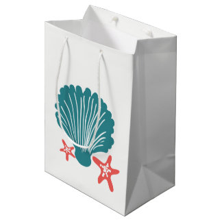 Teal and Orange Sea Shell and Star Fish Medium Gift Bag