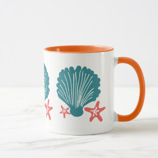 Teal and Orange Sea Shell and Star Fish Mug