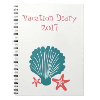 Teal and Orange Sea Shell and Star Fish Notebook