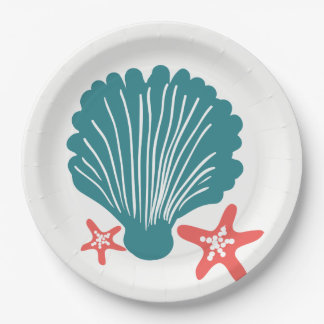 Teal and Orange Sea Shell and Star Fish Paper Plate