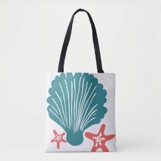 Teal and Orange Sea Shell and Star Fish Tote Bag