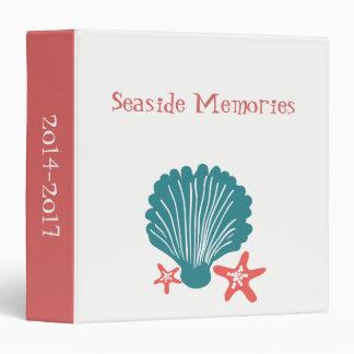 Teal and Orange Sea Shell and Star Fish Vinyl Binder