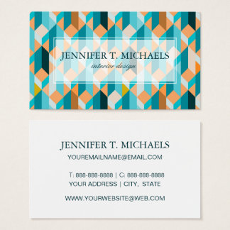 Teal And Orange Shapes Pattern Business Card