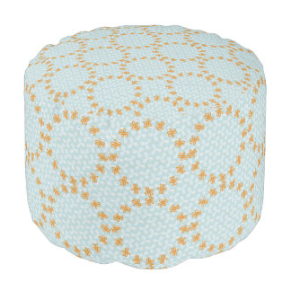 Teal and Orange Simple Flower Pattern Pouf