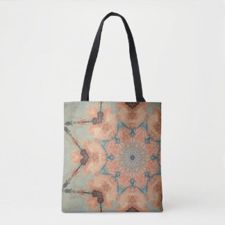 Teal and orange tote bag