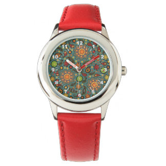 Teal and Paisley Print Kids Stainless Steel Watch