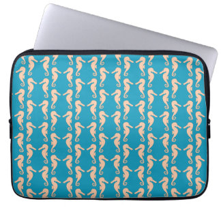 Teal and Peach Color Seahorse Pattern. Laptop Sleeve