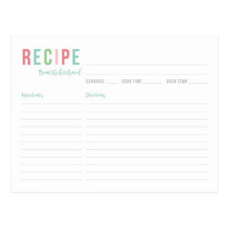 Teal and Pink Bridal Shower Recipe Card