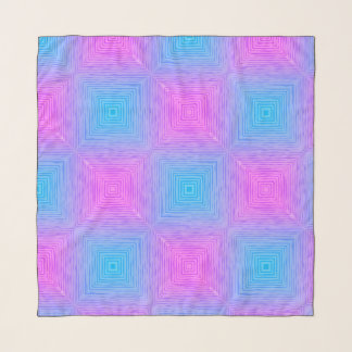 Teal and pink checkerboard chiffon scarf