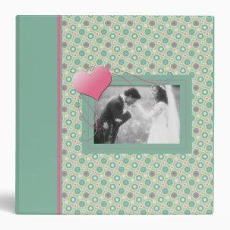 Teal and Pink Circles Wedding Album Vinyl Binder