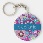 Teal and Pink Floral Pattern with Custom Baby Name Basic Round Button Keychain