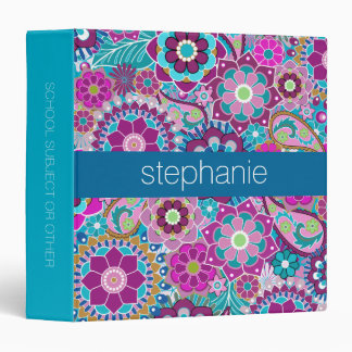 Teal and Pink Floral Pattern with Custom Baby Name Binder