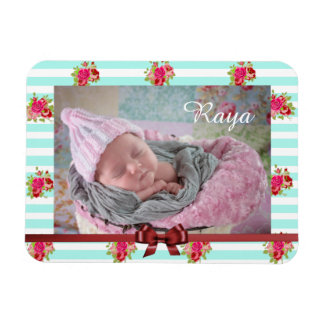 Teal and Pink Floral Vintage Print Photo Magnet