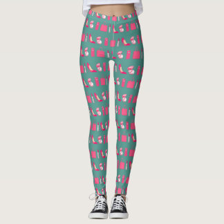 Teal and pink girly things design leggings