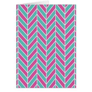 Teal and Pink Herringbone Card