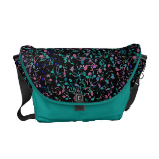 Teal and Pink Music Notes on Black Messenger Bag