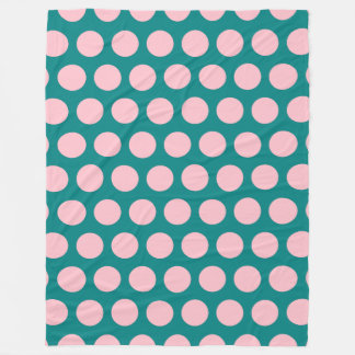 Teal and Pink Polka Dots Fleece Blanket