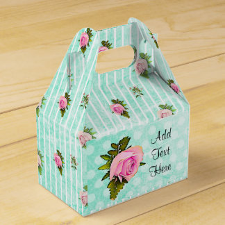 Teal and Pink Roses  Cake Floral Chic Favor Box
