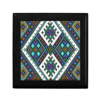 Teal and purple aztec pixel pattern. gift box