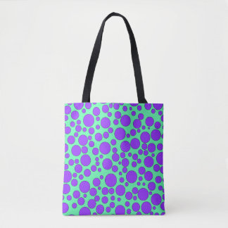 TEAL AND PURPLE BUBBLES TOTE BAG