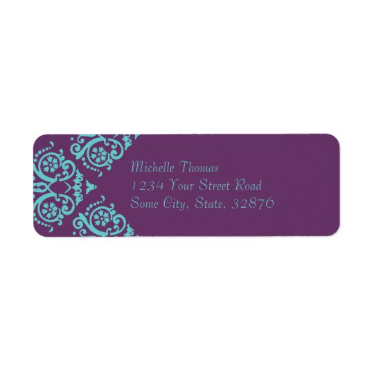 Teal and Purple Elegant Damask Return Address Return Address Label