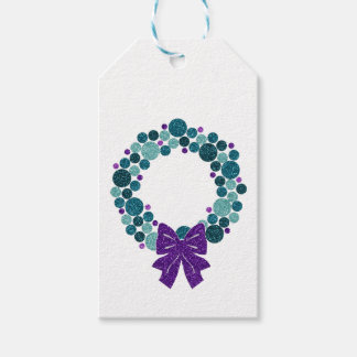 Teal and Purple Glittery Wreath of Ornaments Gift Tags