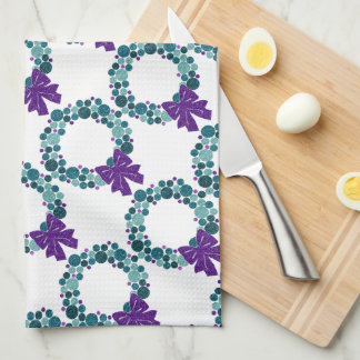 Teal and Purple Glittery Wreath of Ornaments Kitchen Towel