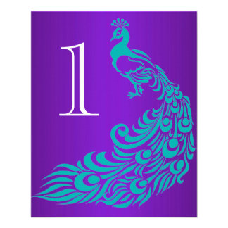 Teal and Purple Peacock Table Numbers Flyer