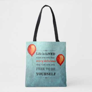 Teal and Red-Orange Watercolor Life is LIVED Tote Bag