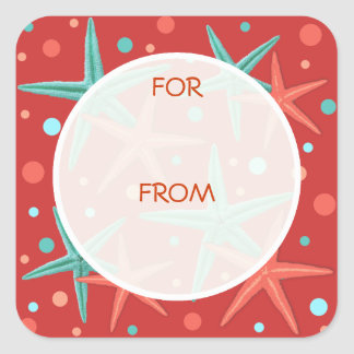 Teal and Red Starfish Dots Gift Wrapping Tags