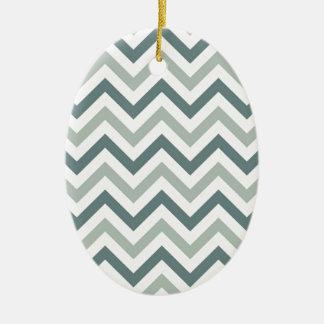 Teal and sage chevron ceramic ornament