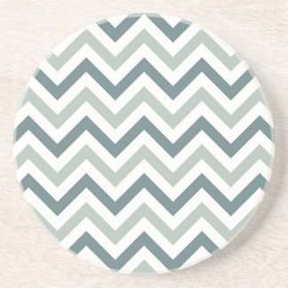 Teal and sage chevron coaster