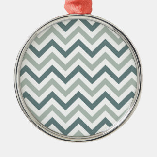Teal and sage chevron metal ornament