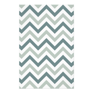 Teal and sage chevron stationery