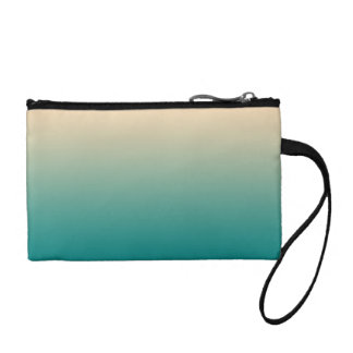Teal and sand yellow gradient coin purse