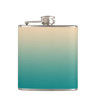 Teal and sand yellow gradient hip flask