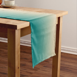 Teal and sand yellow gradient short table runner