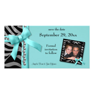 Teal And Silver Zebra Gems Save The Date Card Customized Photo Card